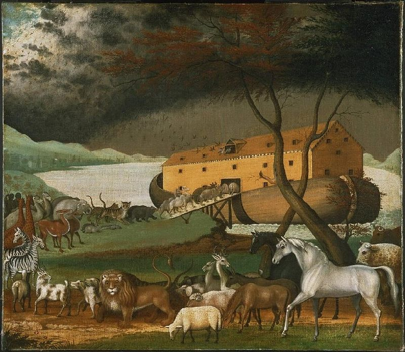 "Illisztráció Forrás: ""Noahs Ark"" by Edward Hicks - http://www.cs.berkeley.edu/~aaronson/zoo.html. Licensed under Public Domain via Wikimedia Commons."