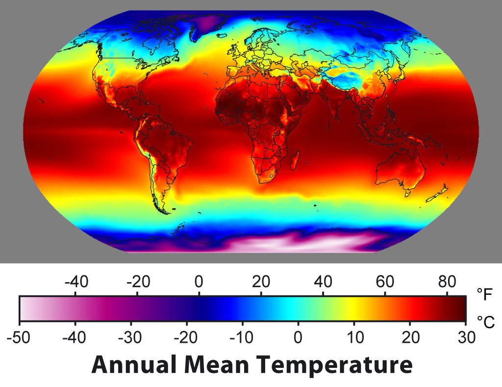 """Annual Average Temperature Map"". Licensed under CC BY-SA 3.0 via Wikimedia Commons."