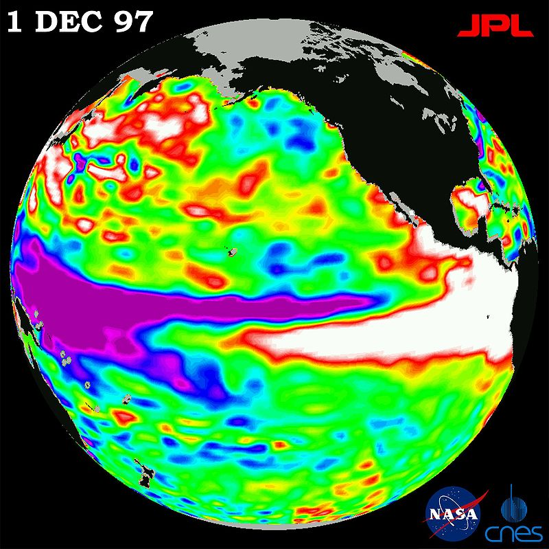 """1997 El Nino TOPEX"". Licensed under Public Domain via Commons."